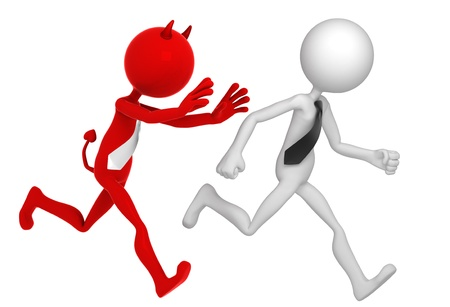 Businessman running away from Businessdevil. Isolated photo