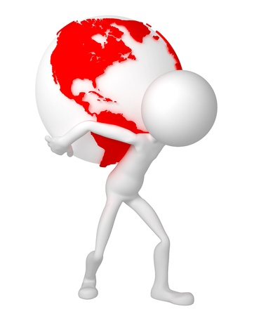 3d man holding earth globe on his shoulders. South and North American side. Isolated. photo