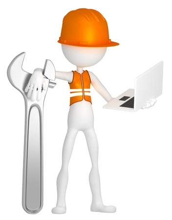 Construction worker with laptop. Isolated on white background photo