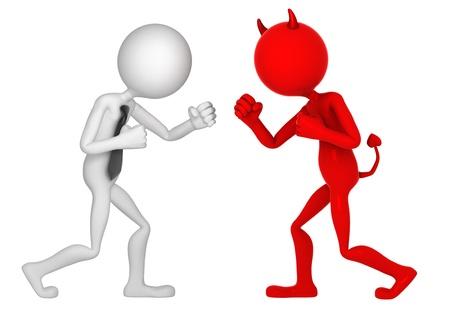 Geschäftsmann kämpft mit dem Teufel. Isoliert