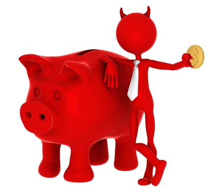 horny: Devil with piggybank. Isolated on white