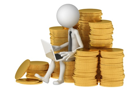 Businessman with laptop sitting on stack of coinss. E-commerce concept. Isolated photo
