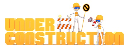 man of letters: Construction workers and orange  Stock Photo