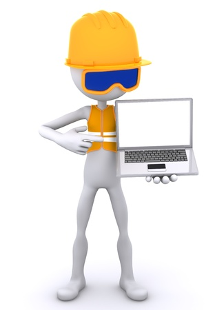 laptop repair: Construction worker showing laptop. Isolated