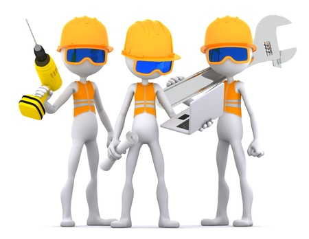 constructor: Industrial contractors workers team. Isolated on white background