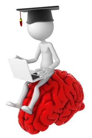 assignments: Student with laptop sitting on top of the brain. Isolated Stock Photo