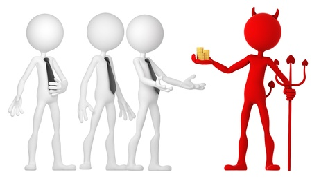 Devil giving mone to a group of businesspeople. Isolated Stock Photo - 11126394