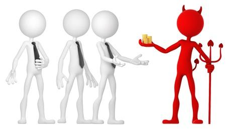 corrupcion: Devil mone da a un grupo de empresarios. Aislado Foto de archivo