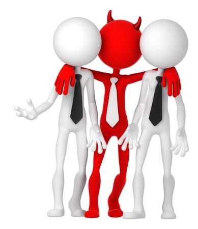 unfair: Businesspeople having deal with Devil. Risky business concept