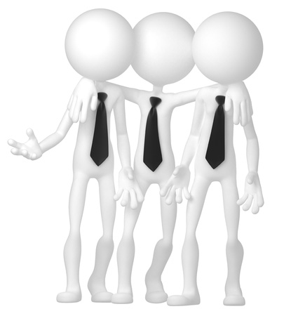Grupo de hombres de negocios que interact�an en la reuni�n. Aislado en blanco