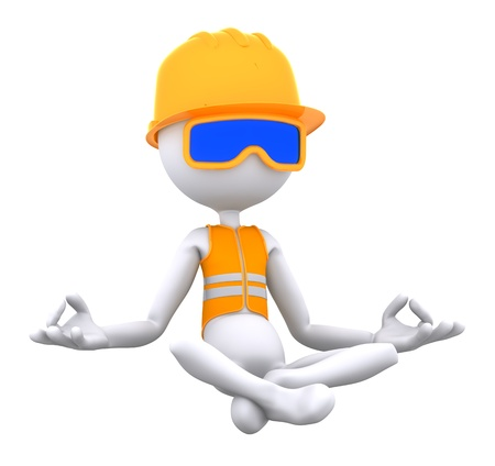 safety at work: Construction worker meditating in lotus position. Isolated on white background Stock Photo