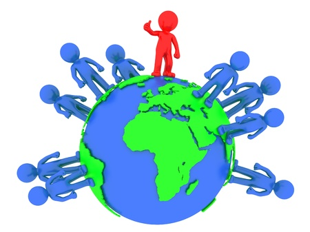 3d people around the globe. Global partnership concept. Isolated photo