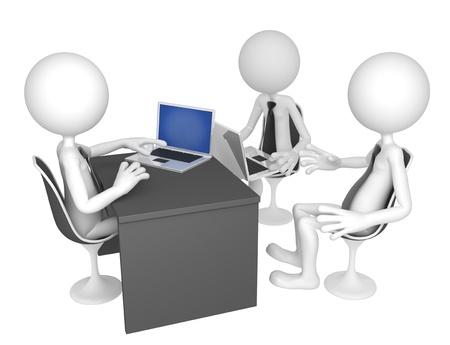 administrative: Los empresarios se reunieron alrededor de una mesa para una reuni�n. Aislado sobre fondo blanco
