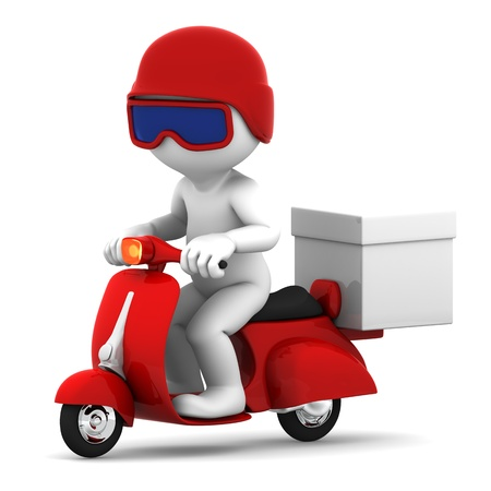 motor transport: Delivery scooter with big white box  Isolated on white