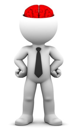 ed: 3d businessman with the brain exposed  Conceptual business illustration  Isolated over white