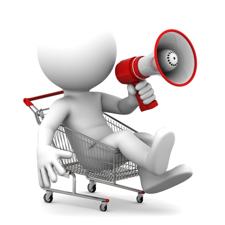 satisfied: Person ith megaphone inside shopping cart  Isolated over white