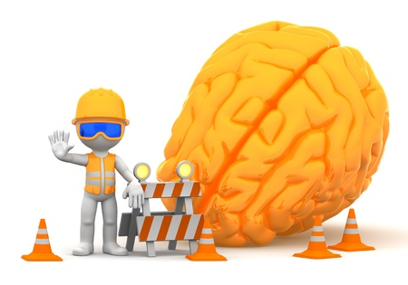 3d builder with big orange brain on background  Isolated