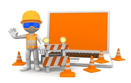 under construction sign with man: Industrial worker with laptop  Under construction concept  Isolated on white