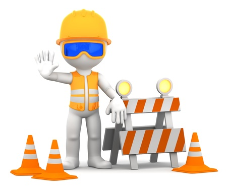barrier: Construction worker  Isolated over white background