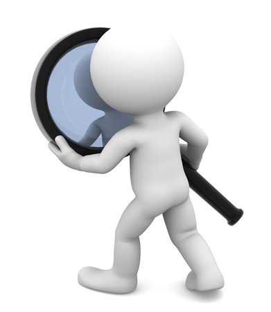 Man with magnifying glass  Isolated on white photo