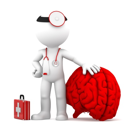 Medic with big red brain  Isolated over white background photo