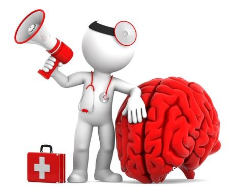 M�dico con meg�fono y el cerebro grande y rojo. Aislado sobre fondo blanco Foto de archivo