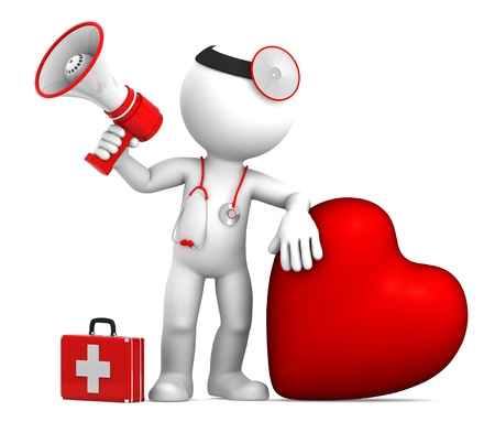 doctor examine: Doctor with big red heart and stethoscope. Isolated on white Stock Photo