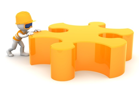 Cartoon builder moving piece of a puzzle. Constuction concept. Isolated on white Stock Photo