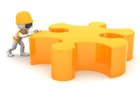 Constructor de la historieta en movimiento pieza de un rompecabezas. Constuction concepto. Aislado en blanco