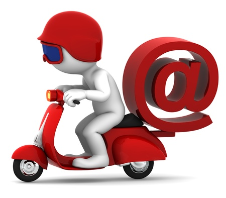 technology symbols metaphors: Person on scooter wit e-mail symbol. E-mail delivery concept. Isolated on white background