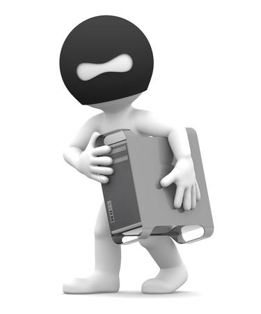 Ladr�n roba torre de ordenador. Aislado sobre fondo blanco Foto de archivo