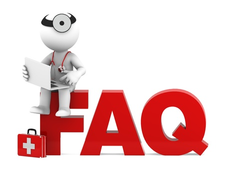 asked: Medic sitting on FAQ sign  Frequently asked questions concept  Isolated