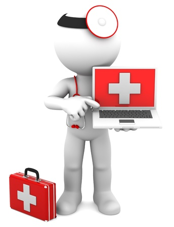 laptop keyboard: Medic with laptop  Isolated on white