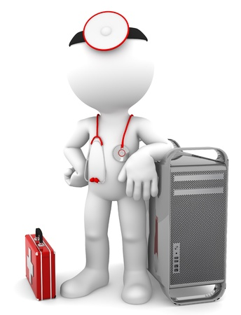 Medic with computer tower  Computer repair concept  Isolated on white background photo