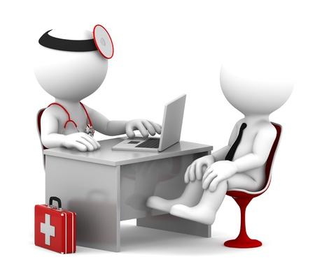 consulta médica: Doctor en consulta médica y el paciente hablando en la oficina Aislado en blanco