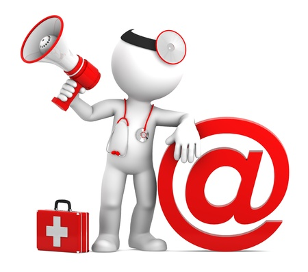 metaphors: Medic with email sign  Isolated on white Stock Photo