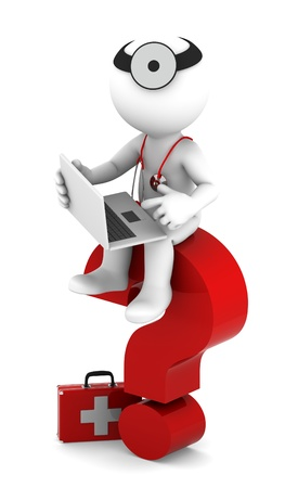 technology symbols metaphors: Medic with laptop sittting on red question mark  Isolated on white Stock Photo