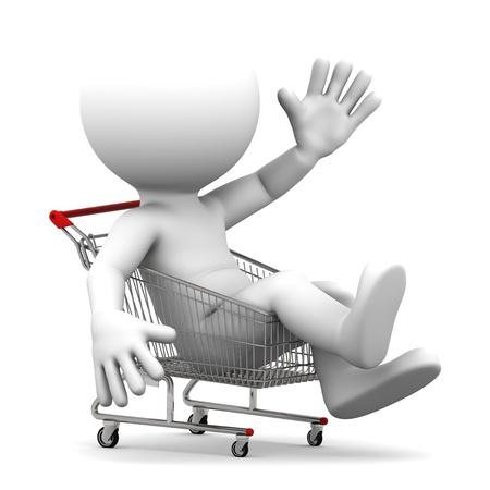 Man inside shopping cart  Isolated on white photo