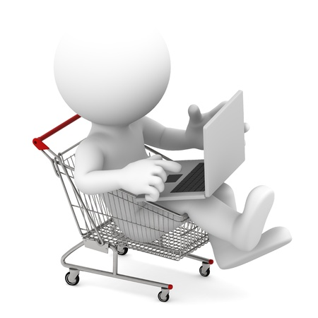 shopping icon: Man with laptop inside shopping cart  Online shopping concept  Isolated on white