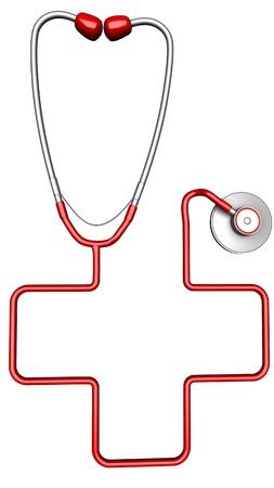 cruz roja: Cruz en forma de estetoscopio. Aislado sobre fondo blanco