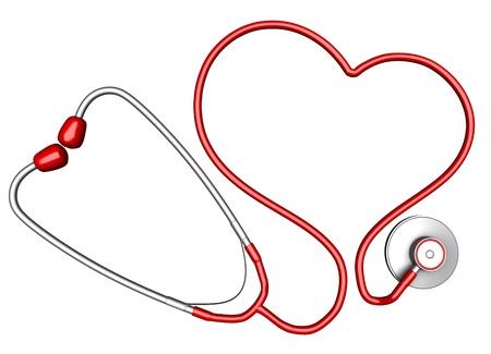 enfermeria: En forma de corazón estetoscopio. Aislado sobre fondo blanco