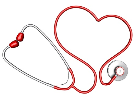 stethoscope exam: Heart-shaped stethoscope. Isolated on white background