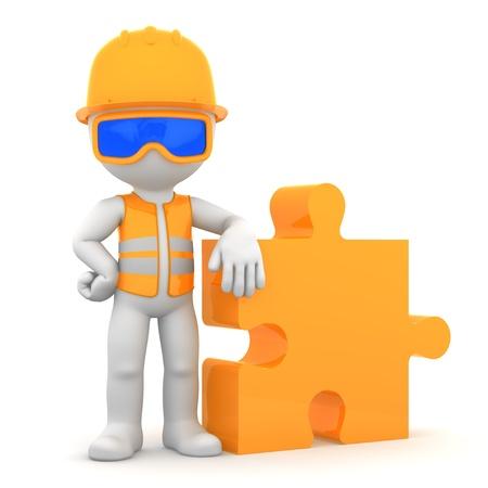 Industriearbeiter mit Puzzlestück Building-Konzept auf whiye Hintergrund isoliert