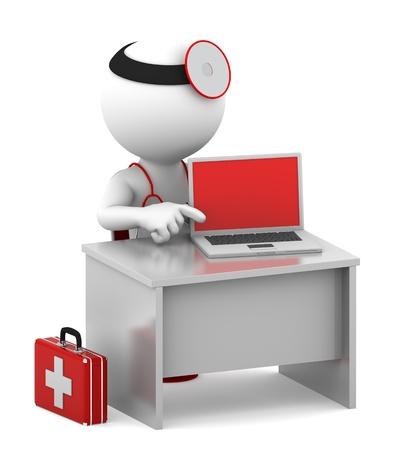 hospital caricatura: Doctor con ordenador port�til sentado en su oficina Aislado