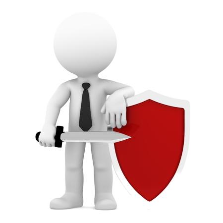 Geschäftsmann mit Schild Konzeptionelle Business Illustration Isoliert auf weißem Hintergrund Lizenzfreie Bilder