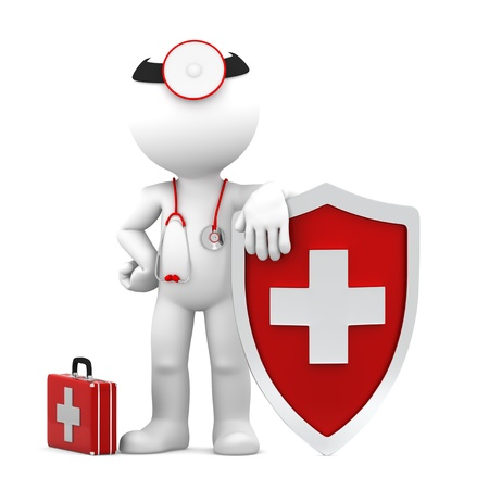 Doctor with shield  Medical protection concept  Isolated Stock Photo - 13646598
