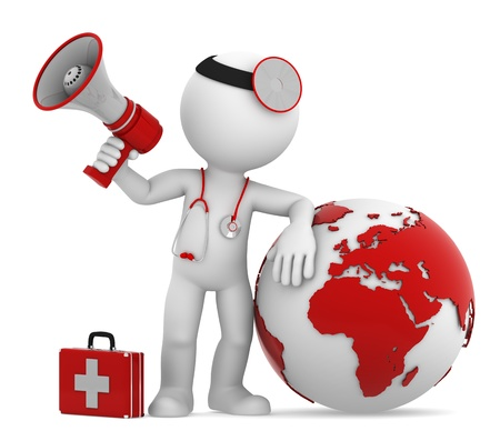 Doctor with globe and megaphone  European and African side  Isolated photo