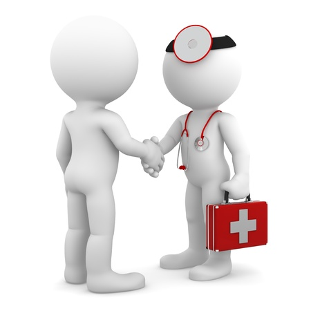 medical cure: Doctor shaking hand with patient  Isolated