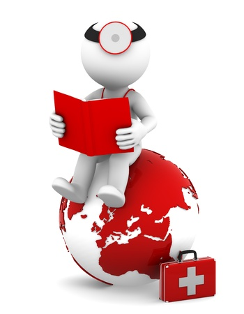 educazione ambientale: Medico con un libro seduto sul globo terrestre rosso isolato su sfondo bianco Archivio Fotografico