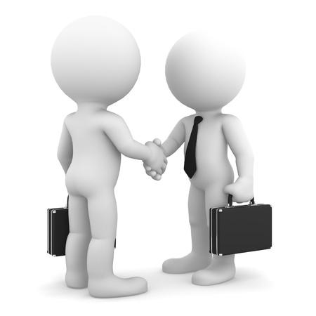 Geschäftskollegen Händeschütteln auf weißem Hintergrund